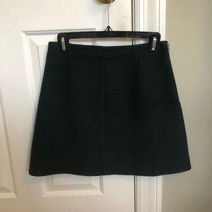 Cos Wool Bottle Green A-line Skirt